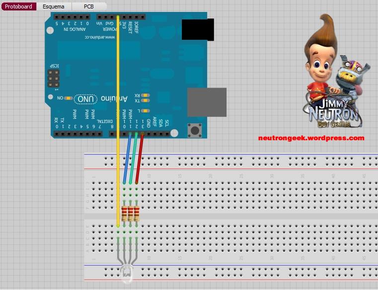 control de leds rgb y arduino
